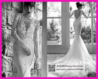 neck lace - 2015 Sexy Russian Style Berta Mermaid Wedding Dresses Long Sleeves V Neck Lace Backless Bridal Dress Court Train Tulle Engagement W3427