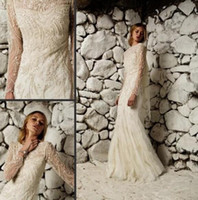 Wholesale 2015 Sexy Wedding Dresses Bateau Neck Sheer Long Sleeve Tulle And Crystal Applique Court Train Bridal Gowns Dhyz