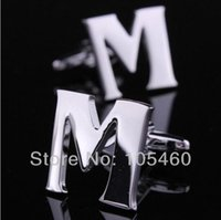 alphabet cuff links - Mens Personal Alphabet Initial Letter M Wedding Groom Men Party Business Silver Gift Cufflinks Shirt Suit Cuff Links