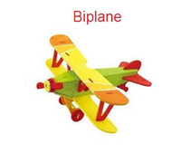 Wholesale Jigsaw puzzle wooden toys D stereo color puzzle jigsaw green low carbon aircraft