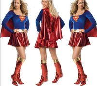 Wholesale New Adult Womens Sexy Halloween Party Costumes Outfit Fancy Superwoman Retail Cosplay Dresses