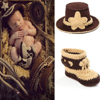 Cheap Nursling Crochet photography Props Handmade Western Cowboy Hat And Shoes Set Baby Costume 1set MZS-14026