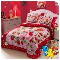 Wholesale Strawberry Shortcake Bedding Kids Bedding Set Single Full Double Size Cotton Reactive Printing Children Bedding Set