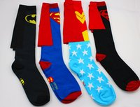Men Stockings cartoon DC Superman Wonder Woman Cape Stockings Socks Batman Superman Socks Cape Personalized Soccer Socks Man Winter Socks football socks