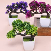 Faire des magasins Prix-Hyson Shop Artificial Bonsai Pot Planters Plantes de pin Mini Bonsai Pine Tree Potted Plant Desk Decorative Flower Décoration intérieure
