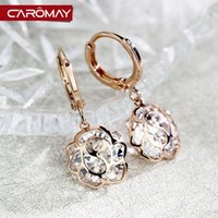 amber clip earrings - Kalome pierced ear clip earrings jewelry rose zircon female Korean fashion temperament simple decoration Earrings