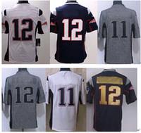 Wholesale Top Quality Patriots Brady Edelman Blue White Red Black Super Bowl jersey Elite American Football Jerseys Mix Order drop shipping