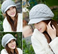 Wholesale QA01 Women Hat colour fashion Winter Caps Knitted Hats For Woman Rabbit fur cap qiu dong the day ladies fashion hat