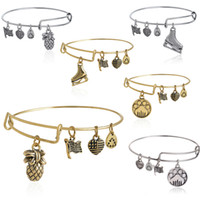 Wholesale Europe selling DIY jewelry Alex and Ani pineapple skates dog paw prints pattern pendants bracelets EH161