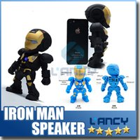 audio player flash - Iron Man model bluetooth speaker with LED Flash light Mini wireless subwoofers bluetooth support TF FM USB hot selling
