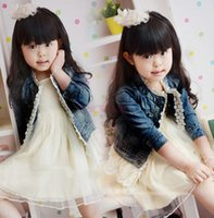 Girl denim jacket - New fashion Girls Kids Lace Cowboy Jacket Denim Top Button Costume children Outfits Jean Coat