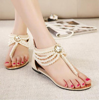 Women beige leather sandals - new pearl chain beads with rhinestone sandals flat heel flip flops fashion sexy women sandals shoes ePacket