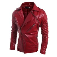 korean leather jacket - Hot Korean Brand Fashion Men PU Zipper Faux Leather Coat Punk Long Sleeve Motorcycle Jackets
