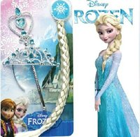 Wholesale Children Girls Cartoon Frozen Ornament Elsa and Anna Cosplay Children Party Accessories Magic Wand sticks Rhinestone Crown Wigs XJ10