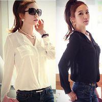 button down shirt - Chaming PC S M L Lady Womens Long Sleeve OL Career Chiffon Sheer Button Down Shirt Top Blouse Snow