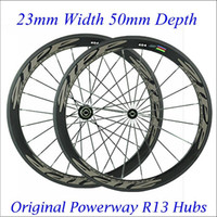 zipp - ZIPP Full Carbon Fiber Wheels Road Bike Wheelset Clincher mm Rims C Cycling Wheel With Powerway R13 Hubs