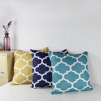 accent pillow covers - Cotton Canvas Quatrefoil Accent Decorative Throw Pillows Square Sofa Pillow Covers Print Cushion Cover X18 quot Gold Navy Teal