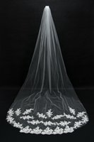 Wholesale Soft White Wedding Veils - 2015 Bridal Veils Cheap Long Veils Soft Tulle Long Veil with Lace on the Edge Cathedral Veils for Wedding Events CPA067