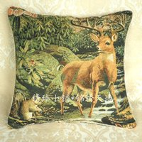 Wholesale TH083 grade double jacquard decorative cloth linen pillow covers cushion X50cm lucky God deer