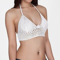 Cheap Wholesale-2016 New Sexy Women Black White Strappy Bra Hollow Knit Cutout Vest Crop Tops Bralette Blouse Tanks Blusa de renda