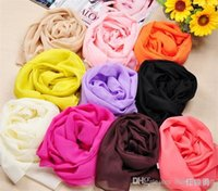 plain silk scarves - ss0031 Ladies girls silk feeling polyster Wraps Scarfs Long Soft solid plain silk scarf brand colors