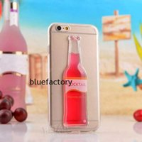 liquid silicone - 3D Red Liquid Wine Cocktail Beer Hourglass Clean Case glass bottle clear transparent cover phone case for iphone Plus iphone inch