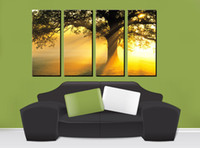 Cheap Oil Painting Wall Art Sunset Landscape Tree Pictures Wall Art Decorate On Canvas Oil Painting For Dining Room Art Wall Pictures