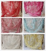 Wholesale New Brand Summer Ladies Lace Tassel Sheer Metallic Women Girls Burnt out Floral Print Triangle Bandage Floral Scarf Shawl