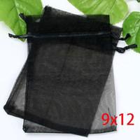 Wholesale 100Pcs Black Drawable Organza Wedding Gift Bags Pouches x12cm