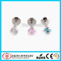 Cheap Heart CZ Prong Set Internally Threaded Monroe Labret 1.2*8*3mm Lip Ring Mixed Colors Body Jewelry