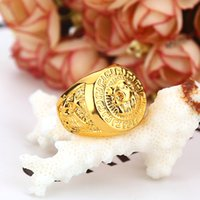 Wholesale 2016 Hot Sales Hip hop Men s Rings Jewelry Free Masonic k gold Lion Medallion Head Finger Ring for men women