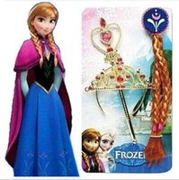 Wholesale Frozen Princess Anna Magic Wand Rhinestone Crown Hairpiece Girls Wig Party Accessories