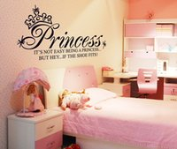 wall quotes - Princess with Crown Vinyl Removable Kid Bedroom Wall Stickers Art Decals Wall Clings Waterpoof Quotes Wall Stickers
