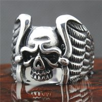 Wholesale Mens Boys L Stainless Steel Cool Punk Gothic Cool Skull Eagle Wing Newest Design