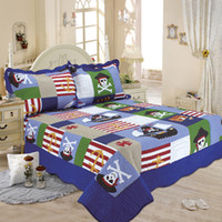 Wholesale cotton reactive printing race track pirate airplane quilt racing car football US flag bedspread