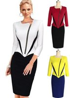 Wholesale Fashion Womens Elegant Irregular Front Zip Colorblock Wear to Work Office Business Party Pencil Sheath Wiggle Dress Plus Size