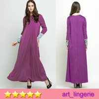 Wholesale New Arrival Islamic dress Muslim minority clothing boutique lace cuff color Muslim Dress Ethnic Clothes Arab women robe No