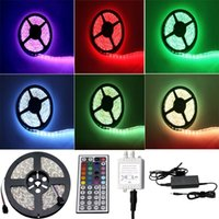 Wholesale Waterproof IP65 m SMD5050 LED RGB lights led strips leds M keys remote controller V power supply
