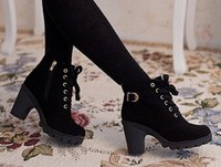 ban han - Autumn and winter velvet short boot thick heels wild black matte female shoes Miss Han Ban ol Martin boots