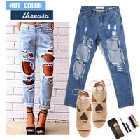 women sexy jeans - 2015 Newest women jeans High Waist Fashion Jeans Hole Knee Skinny Pencil Pants Slim Denim Sexy Ripped Jeans For Womens Trousers