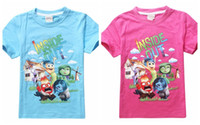 Unisex Summer Standard movie inside out t shirt for kids Boy Girl Blue Rose Short Sleeve inside out t shirts Children Top Tees Cartoon Summer Clothing in stock
