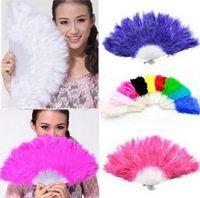 beautiful halloween costumes - Beautiful feather fan for dance props goose feather folding fan Wedding Hand Fancy Dress Costume Halloween fan mask Colors