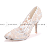 Wholesale Lace White Pink Blue Ivory Wedding Dress Shoes CM Pointed Toe Women Cocktail Evening Prom Street Office Bridal Accessories Cheap