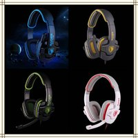 Wholesale Sades Gaming Headset Noise Cancelling Headphones Adjustable Wired Soft PU Leather Cushion Earphone with Hidden Microphone Volume Control