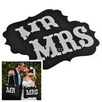Wholesale 1set MR and MRS Wedding Favors Photography Props Photo Booth with Ribbon for Hanging wedding decoration