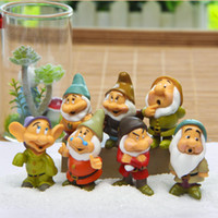 Wholesale 7Pcs Cartoon Dwarf cm Toppers Dolls PVC Action Figures Fairy Garden Miniatures Moss Gnomes Craft For Home Decor Kids Gift