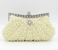 Wholesale Pearl Beaded Evening Bags Imitation Pearls Embroidery Beads Clutch Handbags Shoulder Bag Purse Handmade bag Color