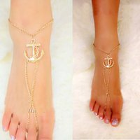 Wholesale 2015 barefoot sandals beach body chains foot jewelry fashion Anchors K gold anklet bracelet leg chain ladies anklets for women SJL04