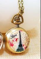 acrylic eiffel tower - Vine bronze Fashion quartz design Paris Eiffel Tower pattern enamel woman pendant Necklace chain pocket watch