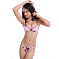 underwear - 2015 Fashion Rose Sweet Front Button Lingerie Brassiere Push Up Sexy Halter Neck D Flower Lace Edge Breathable Sexy Lady Underwear Set